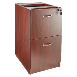 "Lorell® Essentials 22""D Vertical 2-Drawer Fixed Pedestal File Cabinet, Metal, Mahogany"