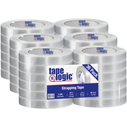 """Tape Logic® 1550 Strapping Tape, 3"""" Core, 1"""" x 60 Yd., Clear, Case Of 36"""