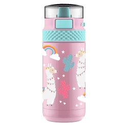 Ello Ride Kids Insulated Stainless-Steel Water Bottle, 12 Oz, Llamas
