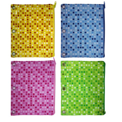 """Inkology Monochromatic Polka Dot Pencil Pouches, 7-1/2"""" x 9-1/2"""", Assorted Colors, Pack Of 12 Pouches"""