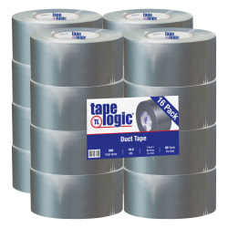 "Tape Logic® Color Duct Tape, 3"" Core, 3"" x 180', Silver, Case Of 16"