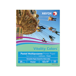 """Xerox® Vitality Colors™ Multi-Use Printer Paper, Letter Size (8-1/2"""" x 11""""), 20 Lb, 30% Recycled, Green, Ream Of 500 Sheets"""