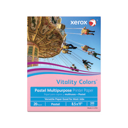 "Xerox® Vitality Colors™ Multi-Use Printer Paper, Letter Size (8-1/2"" x 11""), 20 Lb, 30% Recycled, Pink, Ream Of 500 Sheets"