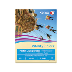"""Xerox® Vitality Colors™ Multi-Use Printer Paper, Letter Size (8 1/2"""" x 11""""), 20 Lb, 30% Recycled, Ivory, Ream Of 500 Sheets"""
