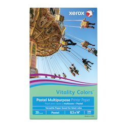 "Xerox® Vitality Colors™ Multi-Use Printer Paper, Legal Size (8 1/2"" x 14""), 20 Lb, 30% Recycled, Green, Ream Of 500 Sheets"