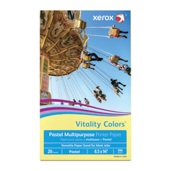 """Xerox® Vitality Colors™ Multi-Use Printer Paper, Legal Size (8-1/2"""" x 14""""), 20 Lb, 30% Recycled, Yellow, Ream Of 500 Sheets"""