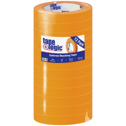 "Tape Logic® Color Masking Tape, 3"" Core, 0.75"" x 180', Orange, Case Of 12"