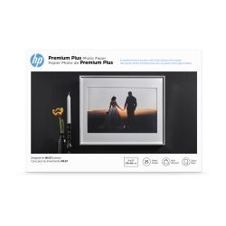 """HP Premium Plus Photo Paper for Inkjet Printers, Glossy, Ledger Size (11"""" x 17)"""", 80 Lb., Pack Of 25 Sheets (CV065A)"""