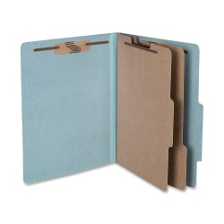 """ACCO® Durable Pressboard Classification Folders, Letter Size, 3"""" Expansion, 2 Partitions, 60% Recycled, Sky Blue, Box Of 10"""