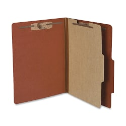 "ACCO® Durable Pressboard Classification Folders, Letter Size, 2"" Expansion, 1 Partition, 60% Recycled, Earth Red, Box Of 10"