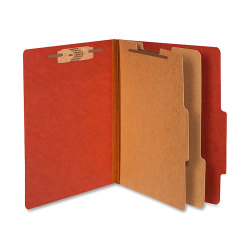 """ACCO® Durable Pressboard Classification Folders, Letter Size, 3"""" Expansion, 2 Partitions, 60% Recycled, Earth Red, Box Of 10"""