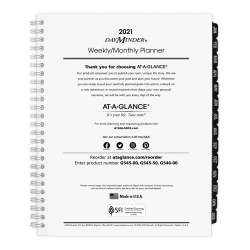 "AT-A-GLANCE® DayMinder Executive Weekly/Monthly Refill For G545 Planners, 7"" x 8-3/4"", January to December 2021, G54550"