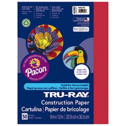 "Tru-Ray® Construction Paper, 50% Recycled, 9"" x 12"", Holiday Red, Pack Of 50"