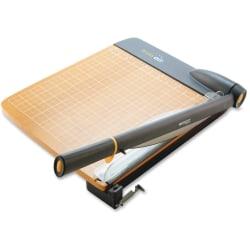 "Westcott Trim Air Wood Guillotine Paper Trimmer - Cuts 30Sheet - 18"" Cutting Length - 3.5"" Height x 14.3"" Width x 26.6"" Depth - Wood Base, Titanium Blade - Transparent, Walnut"