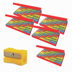 The Pencil Grip Eisen Pencil Sharpeners, 1 Hole, Assorted Colors, 25 Sharpeners Per Pack, Set Of 5 Packs