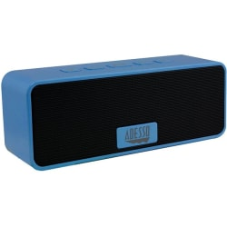 Adesso Xtream S2L Portable Bluetooth Speaker System - Blue - 80 Hz to 20 kHz - Battery Rechargeable - USB