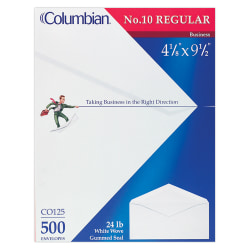 "Columbian® Business Envelopes, #10, 4 1/8"" x 9 1/2"", White, Box Of 500"
