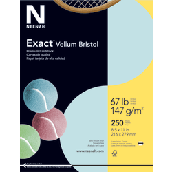 """Exact® Vellum Bristol Cover Stock, 8 1/2"""" x 11"""", 67 Lb, Blue, Pack Of 250 Sheets"""