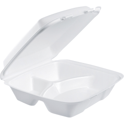 "Dart Large Carryout Foam Trays, 3 Compartments, 9"" x 9"", White, Pack Of 100"