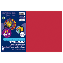 "Tru-Ray® Construction Paper, 50% Recycled, 12"" x 18"", Holiday Red, Pack Of 50"