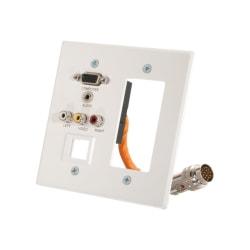 C2G RapidRun Double Gang Integrated VGA (HD15) + 3.5mm + Composite Video + Stereo Audio + Keystone + Decorative Style Wall Plate - White - 2-gang - White - 1 x Mini-phone Port(s) - 2 x RCA Port(s) - 1 x VGA Port(s)