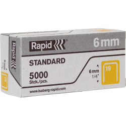 """Rapid R23 No.19 Fine Wire 1/4"""" Staples - 19/6 - 1/4"""" Leg - 1/2"""" Crown - for Fabric, Paper, Metal - Gray5000 / Box"""
