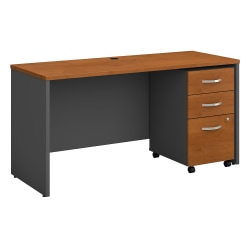 Bush Business Furniture Components 60W x 24D Office Desk with Mobile File Cabinet, Natural Cherry/Graphite Gray, Standard Delivery