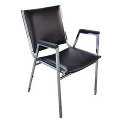 "Lorell® Padded Vinyl Seat, Vinyl Back Stacking Chair 16 1/5"" Seat Width, Black Seat/Chrome Frame, Quantity: 4"