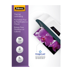 """Fellowes Laminating Pouches, Glossy, 8.5"""" x 11"""", 3 mil Thick, Clear, Pack Of 150"""