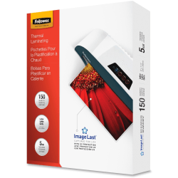 Fellowes Laminating Pouches, Glossy, 5 mil Thick, Clear, Pack Of 150