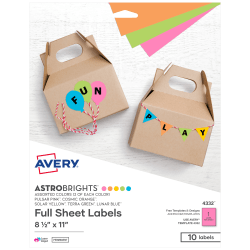 "Avery® Astrobrights® Easy Peel Labels, 4332, 8 1/2"" x 11"", Assorted Colors, Pack Of 10"