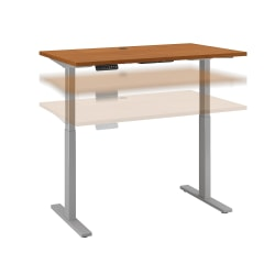 "Bush Business Furniture Move 60 Series 48""W x 24""D Height Adjustable Standing Desk, Natural Cherry/Cool Gray Metallic, Standard Delivery"