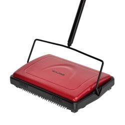 Alpine Manual Triple Brush Floor And Carpet Sweeper, Red