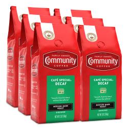 Community Coffee Arabica Ground Coffee, Cafe Special Decaf, 12 Oz, Carton Of 6 Bags