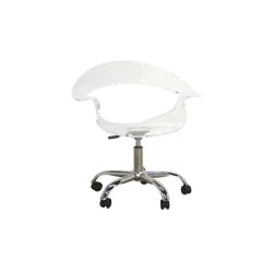 Baxton Studio Liv Swiveling Mid-Back Chair, Clear/Chrome