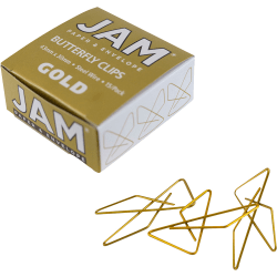 """JAM Paper® Paper Clips, Butterfly, 1 1/2"""", 25-Sheet Capacity, Gold, Pack Of 15"""
