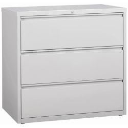 """Lorell® 42""""W Lateral 3-Drawer File Cabinet, Metal, Light Gray"""