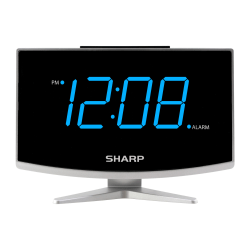 "Sharp® Digital Alarm Clock With Jumbo Display, 5-5/8""H x 3/8""W x 2-1/4""D, Black"