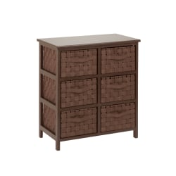 """Honey-can-do TBL-03758 Woven Strap 6 Drawer Chest with Wooden Frame - 21.5"""" x 12"""" x 24"""" - 6 x Drawer(s) - Java Brown - Wood, Natural Wood, Fabric"""