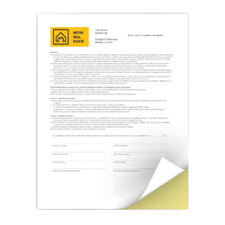 """Xerox® Revolution™ Premium Digital Carbonless Paper, 2-Part Straight/Reverse, Letter Size (8 1/2"""" x 11"""")/Canary, Case Of 2,500 Sets"""