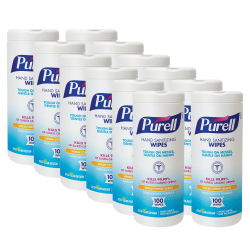 Purell® Textured Sanitizing Wipes, Fresh Citrus, 100 Wipes Per Tub, Carton Of 12 Tubs