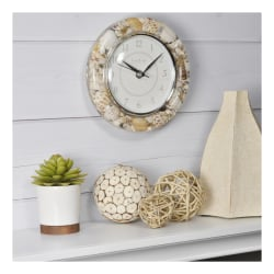 FirsTime & Co.® Clear Seashells Round Wall Clock, Tan/White