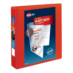 """Avery® Heavy-Duty View 3-Ring Binder With Locking One-Touch EZD™ Rings, 1 1/2"""" D-Rings, Red"""