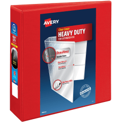 """Avery Heavy-Duty View Binders with Locking One Touch EZD Rings - 3"""" Binder Capacity - Letter - 8 1/2"""" x 11"""" Sheet Size - 670 Sheet Capacity - D-Ring Fastener(s) - 4 Internal Pocket(s) - Poly - Red - Recycled - 1Each"""