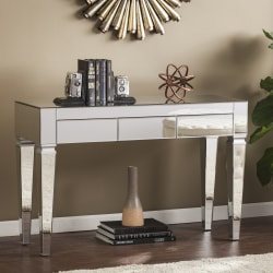 Southern Enterprises Darien Contemporary Mirrored Console Table, Rectangular, Matte Silver/Maroon