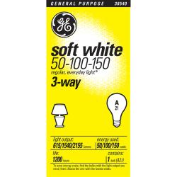GE Soft White Light Bulb, 3-Way, 50/100/150 Watts