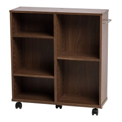 "IRIS 25-5/8""H 5-Shelf Rolling Shelf, Dark Brown"