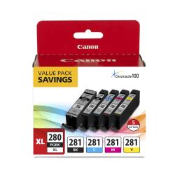 Canon PGI-280XL High-Yield Black + CLI-281 Standard Yield Black/Cyan/Magenta/Yellow Ink Tanks, Pack Of 5