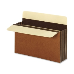 """Pendaflex® File Pockets, Heavy-Duty, Extra-Wide Accordion, Letter Size, 3 1/2"""" Expansion, Brown, Box Of 10"""