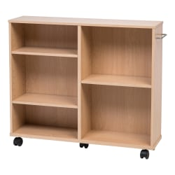 "IRIS 26""H 5-Shelf Wide Rolling Shelf, Light Brown"